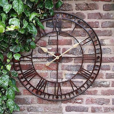 Large Outdoor Garden Wall Clock Big Roman Numerals Giant Open Face Metal 80Cm