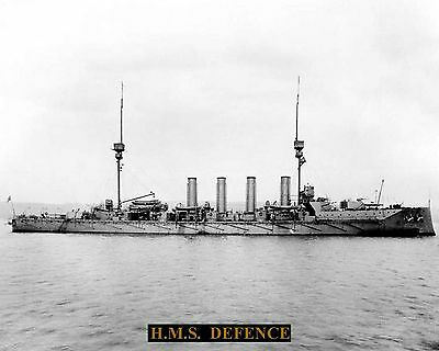 Royal Navy Cruiser Hms Defence 1907 Photograph  With Technical Sheet