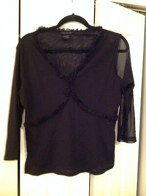 The Limited Sheer Black Ruffled Blouse XL