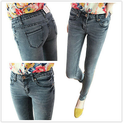 New Women Plain Grey Stretch Super Skinny Fit Denim Jeans Jeggings Pants 6-14