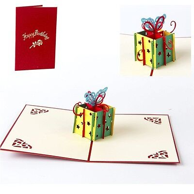 5pcs/lot Creative 3D Greeting Card DIY Birthday Party Gift Cards for Friends