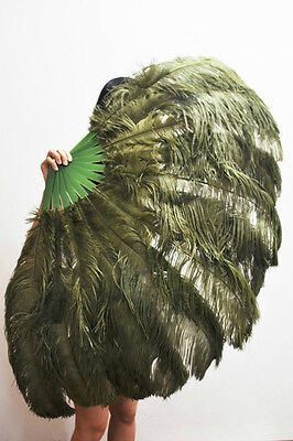 "Oliverdrab 2 layers Ostrich Feather Fan Burlesque dancer  30""x 54"" gift box"