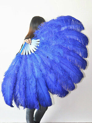 "Royal Blue 2 layers Ostrich Feather Fan Burlesque dancer  30""x 54"" gift box"