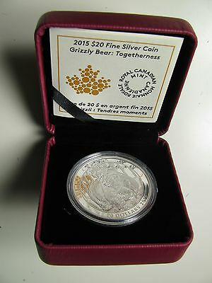2015 Proof $20 Grizzly Bear #2-Togetherness Canada .9999 silver twenty mates