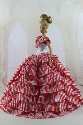 Fashion Handmade Princess Dress Wedding Clothes Gown for Barbie Doll b12
