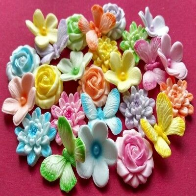 24 edible sugar flowers roses chrisanthemum butterfly cake topper AIRBRUSHED