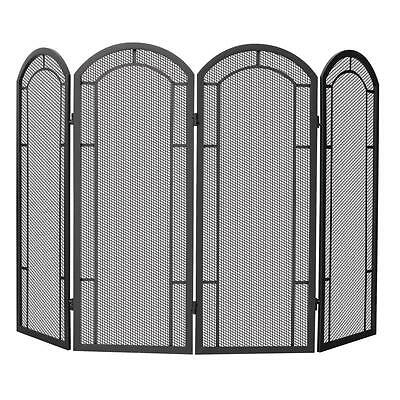 UniFlame 4 Panel Fireplace Screen Heavy Gauge Mesh Heavy Duty Steel Black
