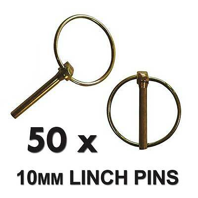 50 x 10mm Linch Pins; Lynch Pins Tractors Trailers Farms Agricultural Machinery