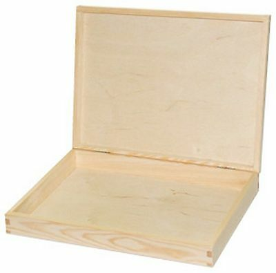 Unpainted Wooden Box A4 Size/ Untreated Natural Pine Documents Flat Box