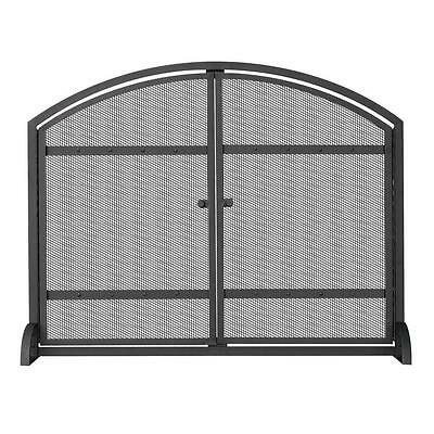 UniFlame 1 Panel Heavy Duty Mesh Steel Frame Fireplace Screen With Doors Black