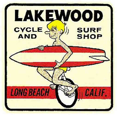 Lakewood Cycle & Surf Shop   Vintage-Style Travel Decal