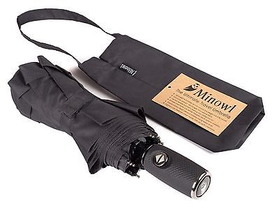*CLEARANCE* Minowl Umbrella Auto Open Close Windproof For Travel 42 Inch Black