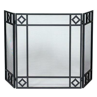 UniFlame 3 Panel Heavy Duty Steel Fireplace Screen Heavy Gauge Mesh Black