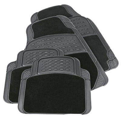 4Pc Heavy Duty Universal Black Carpet & Rubber Car Mat Set Non Slip Van Mats