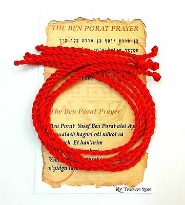 5 Kabbalah Red String Bracelet Evil Eye Protection 9 inch with Prayer Card