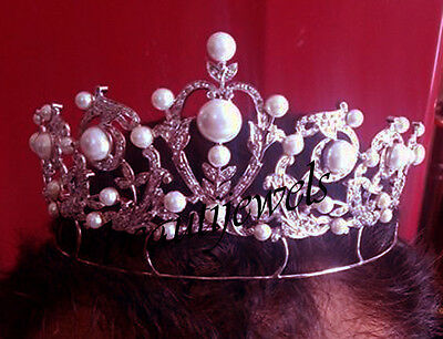 9.50ct Rose Cut Diamond Pearl Sterling Silver Antique Reproduction Tiara