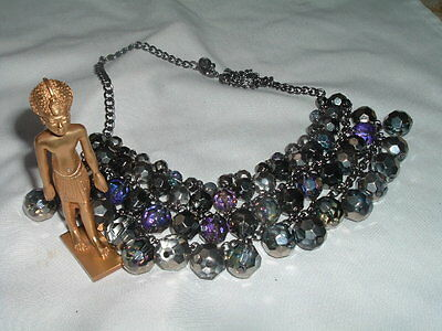 Vintage Beautiful Wide Egyptian Revival Faceted Crystal Bib Necklace