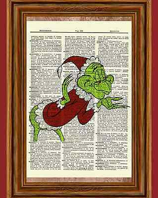 Dr. Seuss How the Grinch Stole Christmas Dictionary Art Print Picture Poster
