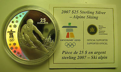 2007 Proof $25 2010 Vancouver Olympics #5-Alpine Skiing COIN&COA ONLY Canada .92