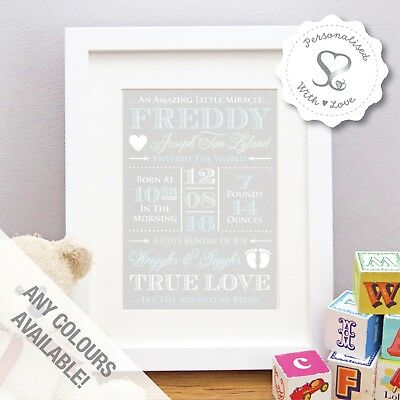 Personalised Vintage Wood Effect New Baby Christening Birth Print or Framed Gift