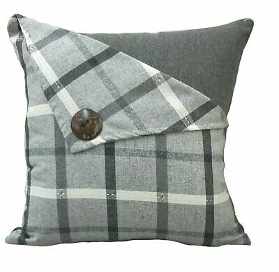 "Birthday Gift Silver/grey Button Check Tartan Linen 18"" Cushion Cover £5.95 Each"