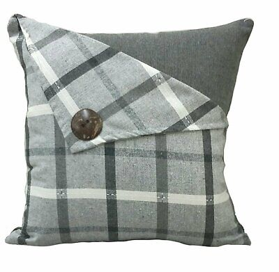 Luxury Checked Button Tartan  Quality Linen Cushion Cover £5.95 Free Postage