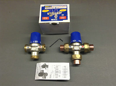 """HIGH FLOW Thermal Store 1"""" TMV Thermostatic Mixing Blending Valve 1"""" 15 22 28mm"""