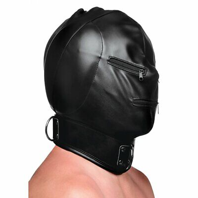 Bondage Hood with Posture Collar and Zippers Mask Strict sensory deprivation NEW