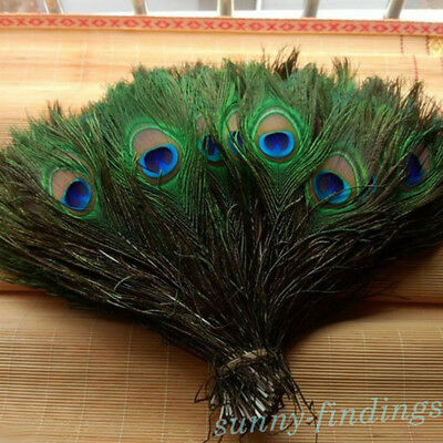 10X Random Natural Peacock Tail Feathers For DIY Decoration Crafts DIY 25-30CM