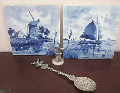 DELFT blue & white hand painted TILES, Holland Souvenir SPOON, mini WINDMILL