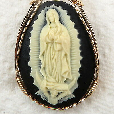 Lady Of Guadalupe Cameo Pendant 14K Rolled Gold Spiritual Jewelry Black Resin