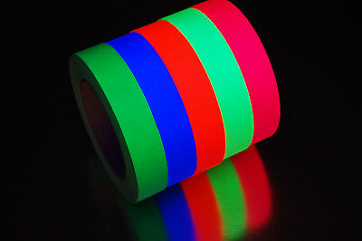 1 Inch UV Blacklight Reactive Fluorescent Gaffer Tape 1 Roll x 25 Yards
