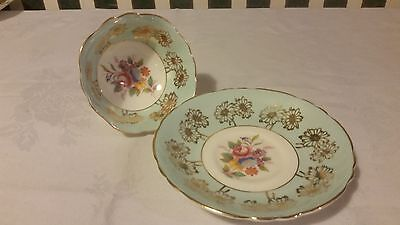 Paragon Teacup Pink Rose With Flowers Floral Bouquet Gold Flowers Blue Cup