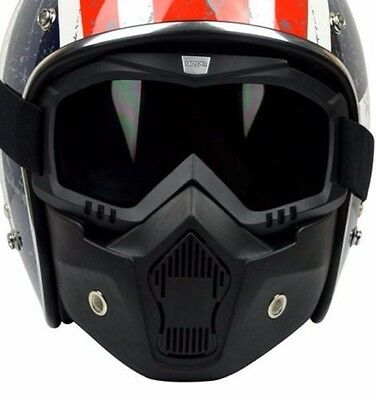 Beon Motorcycle Riding Mask With Goggle For 3/4 Open Face Motorcycle Helmet