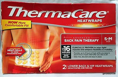 Thermacare Advanced Pain Therapy Lower Back & Hip Heatwraps Size S-M 2 ct. 9/18