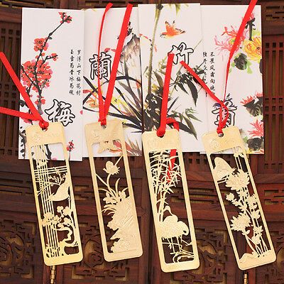 4pcs Chinese Traditional Metal Bookmark Note Memo Clip Paper Marker