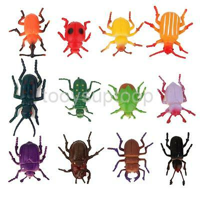 12 Plastic Insects Bugs Animals Model Figurine Kids Playset Pretended Toy