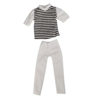 1 Set Casual Stripe Tops + Pants For Barbie Boy Friend Ken Dolls Handmade