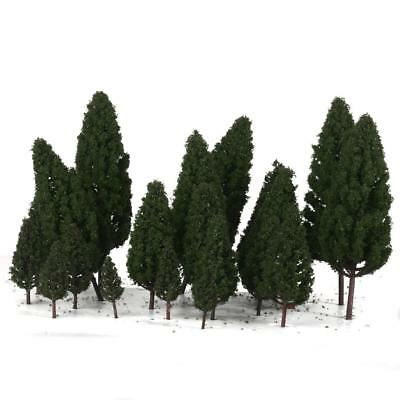 20x Dark Green Trees Model Train War Game Diorama Park Scenery Layout HO OO