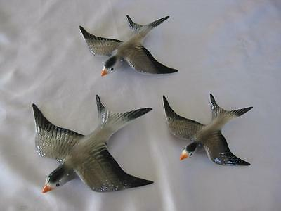 Ceramic Flying Wall Hanging Swallows X 3 - Retro (S302)