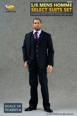Toys City MENS HOMME SELECT With Stripes 1/6 Scale Clothing SUIT Figure *NEW*