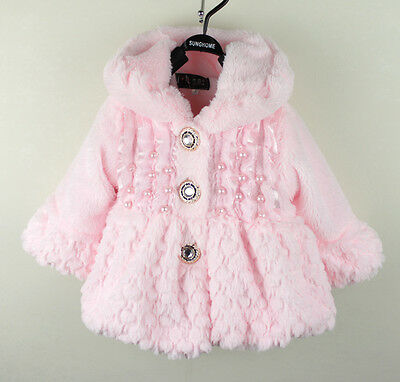 Girls Pink Dimante Fur Winter Coat. FREE shipping within the UK!