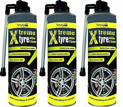 3 X 500ml Simply Tyre Seal Inflator Seals Inflates Repair Puncture Emergency