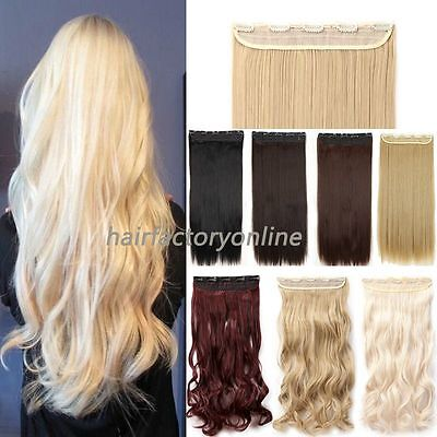 UK Clip In Hair Extensions Full Head One Piece Straight Real Natural Hair Piece
