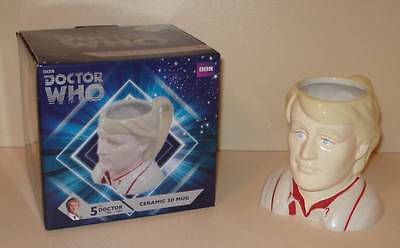 DOCTOR WHO  FIFTH 5th DOCTOR CERAMIC 3D FIGURAL MUG  Mint/Boxed  Peter Davison