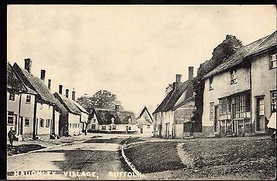Postcard ~ HAUGHLEY VILLAGE Houses Street SUFFOLK nr. STOWMARKET ~ Early