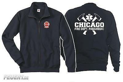 Sweatjacke navy, Chicago Fire Dept. mit Äxten, Paramedic