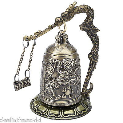Vintage Style Bronze Lock Dragon Carved Buddhist Bell Chinese Artware Exquisite