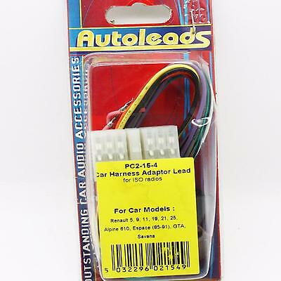 Autoleads PC2-15-4 renault car stereo ISO wiring harness adaptor leads PC2154