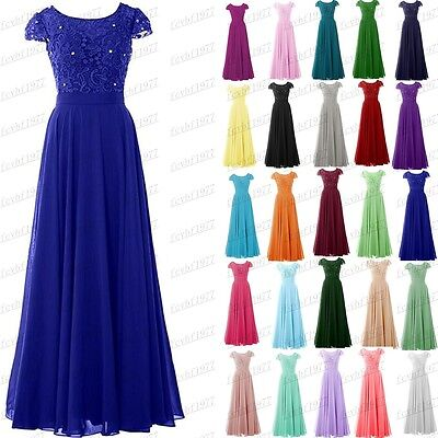Long Chiffon Formal Lace Evening Ball Gown Party Prom Bridesmaid Dress Size 6-24